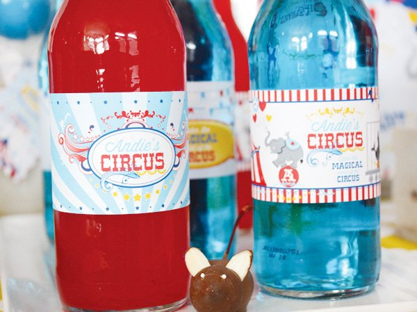 magical circus birthday party soda wrappers
