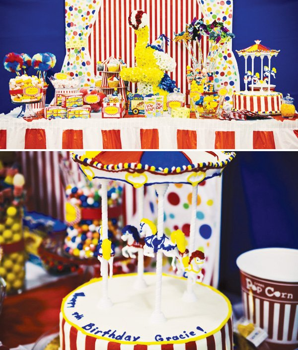 circus party ideas with a carousel birthday cake