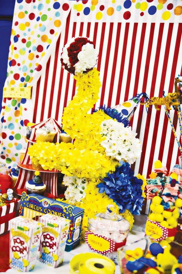 circus party ideas flower elephant centerpiece