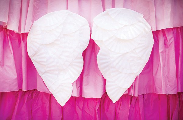 coffee filter angel wings for an pink angel birthday party