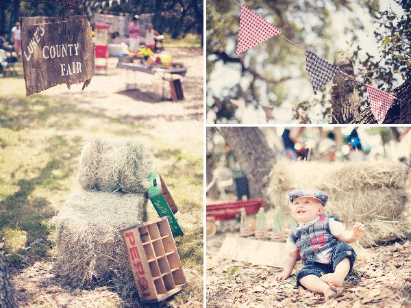 vintage county fair party with gingham decorations