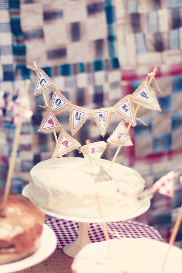 vintage county fair party cake bunting