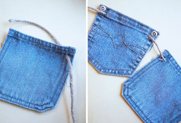 String denim pockets together