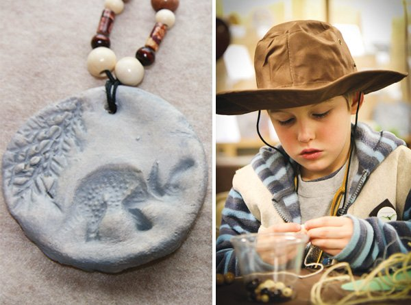 dinosaur boy birthday party fossil necklace
