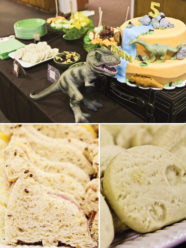 dinosaur boy birthday party cut out sandwiches
