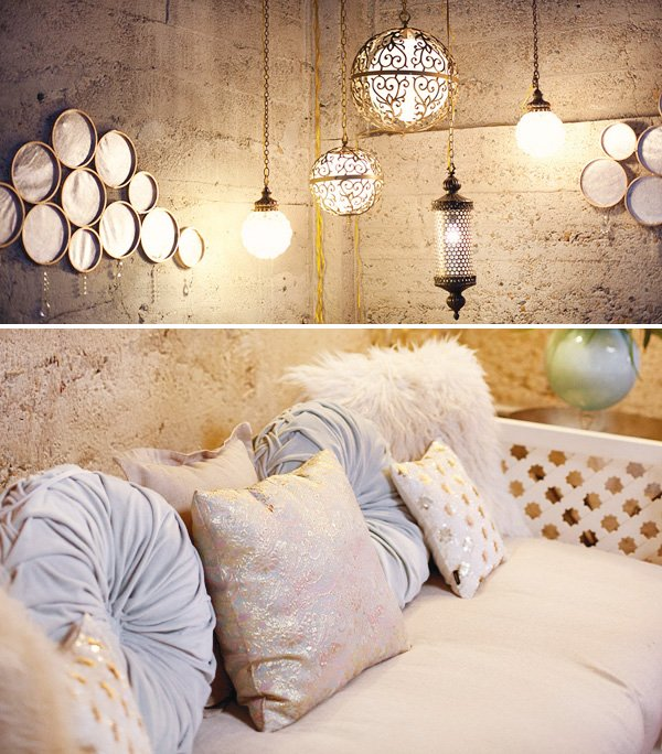 dream wedding event lanterns and couch cushions