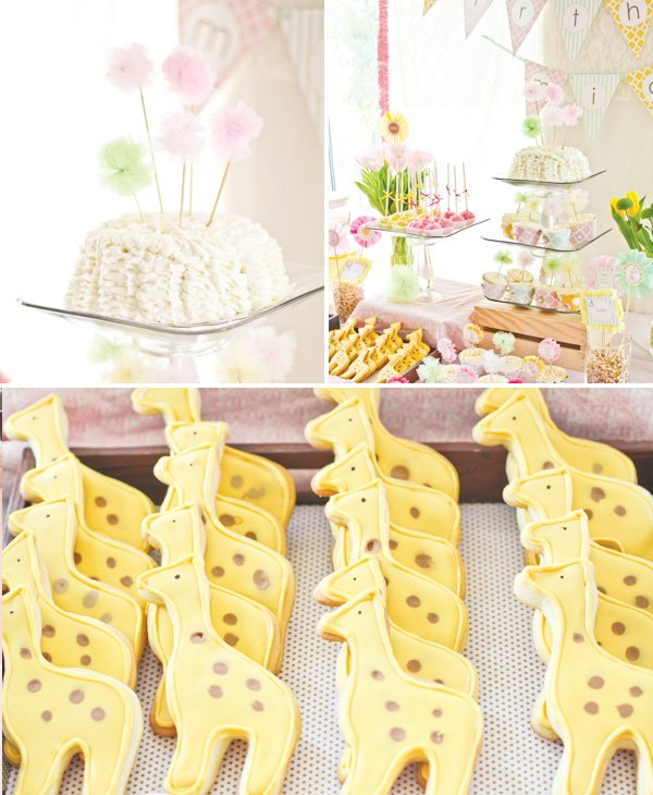 dreamy safari princess birthday cake and yellow giraffe cookies