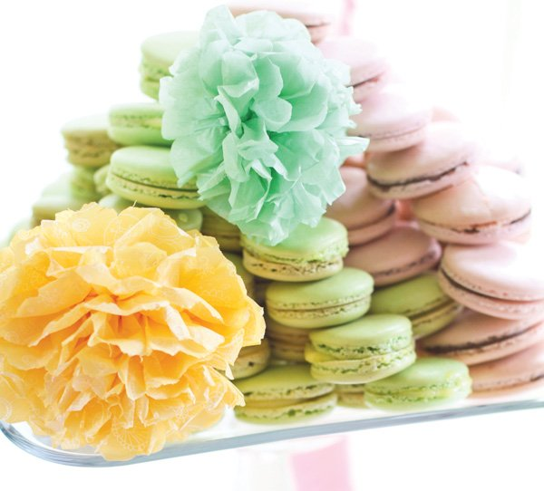 dreamy tissue poms and macarons