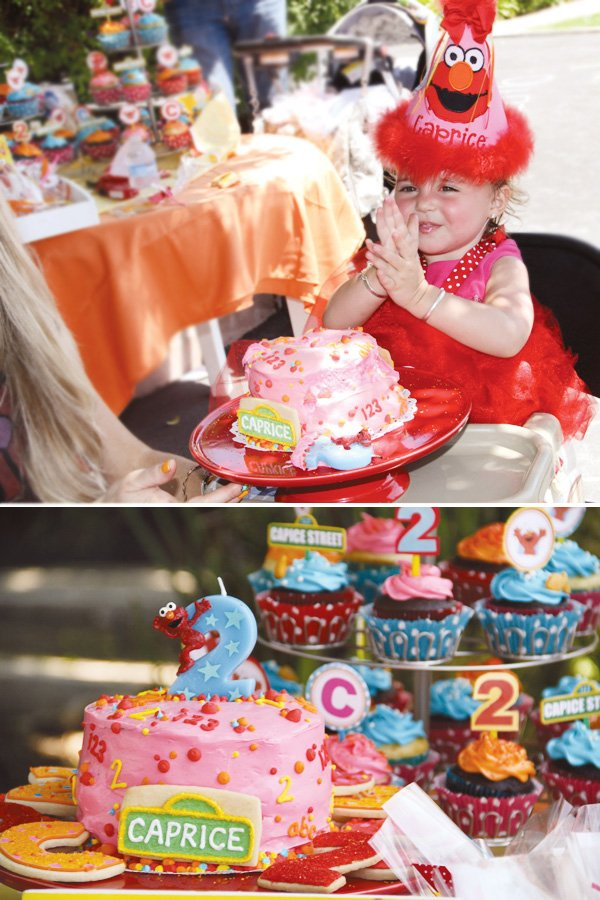 elmo birthday cake and hat