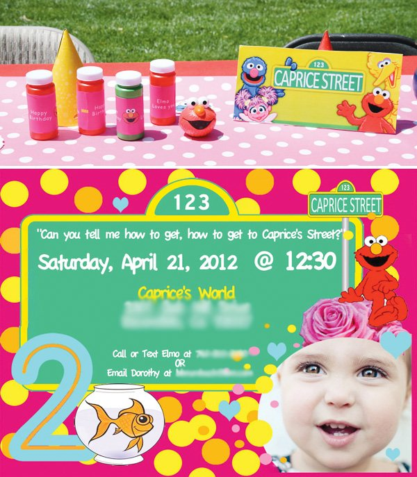 elmo & dorothy birthday party invitation