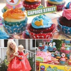elmo cupcakes with sesame stree sign cupcake toppers