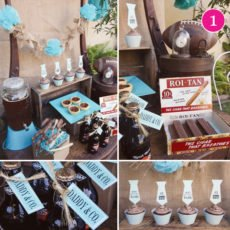 father's day dessert table in light blue and burlap