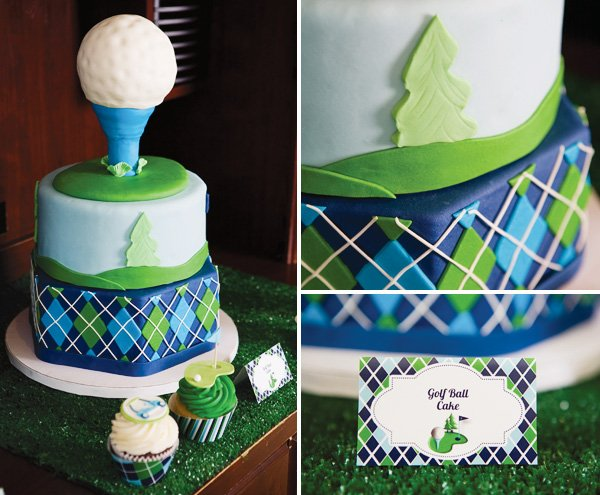 Father's day golf party cake in green and blue