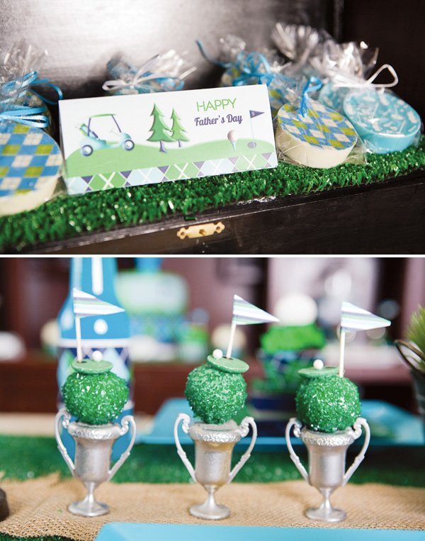 Father's day golf party cookies and cake balls