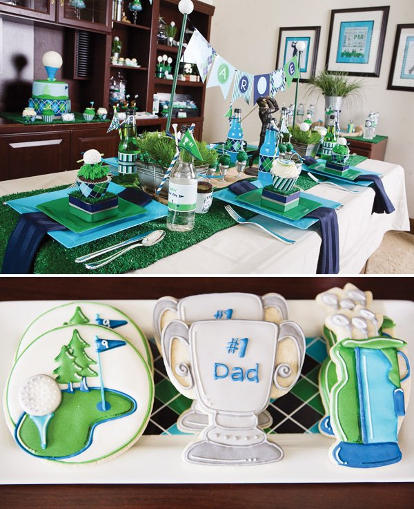 Father's day golf party cookies and table setting
