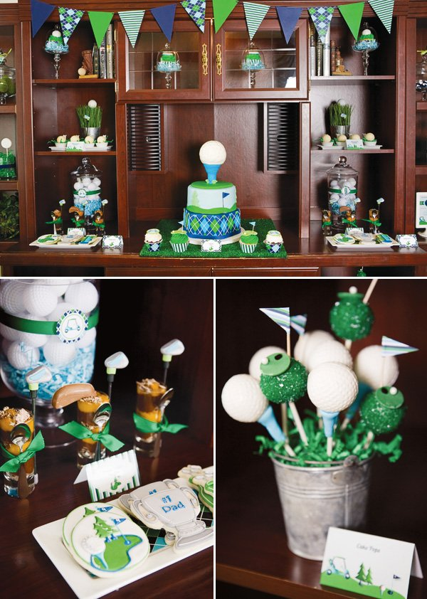Father's day golf party desk decorations and treats
