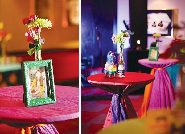 mexican theme fiesta engagement party cocktail tables
