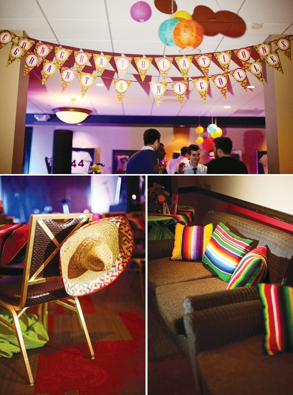 mexican theme fiesta engagement party colorful pillows