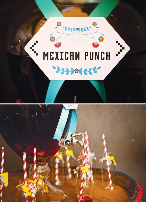 fiesta mexicana twins birthday party punch label