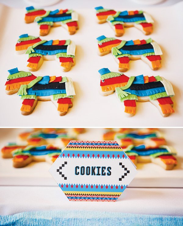 fiesta mexicana twins birthday party piñata cookies