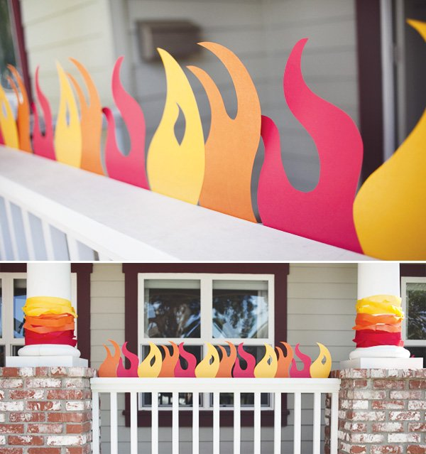 fire man birthday party with paper flame decorations