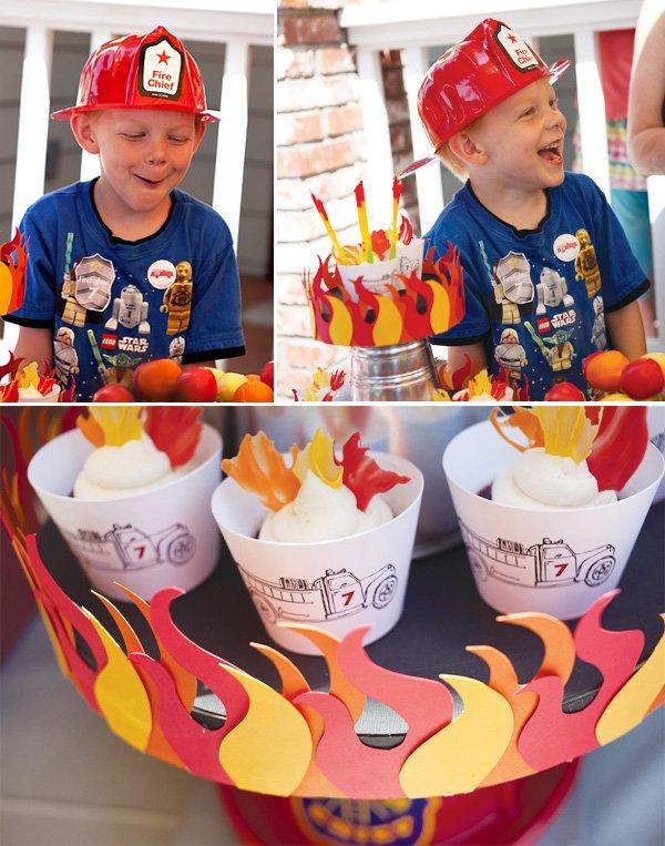 fireman flame birthday cupcakes