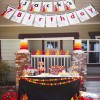 fire truck party dessert table and banner