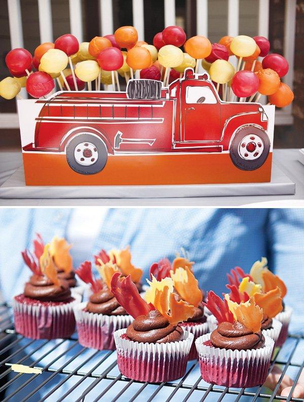 fire truck cake pops