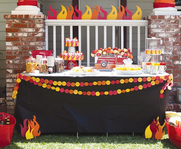 fire truck theme dessert table