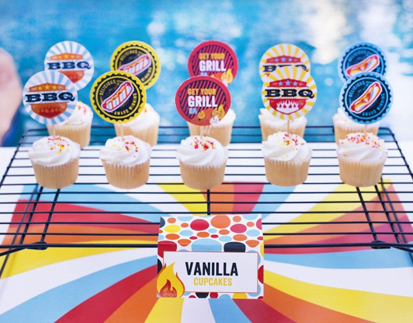 free printables for a summer bbq including cupcake toppers