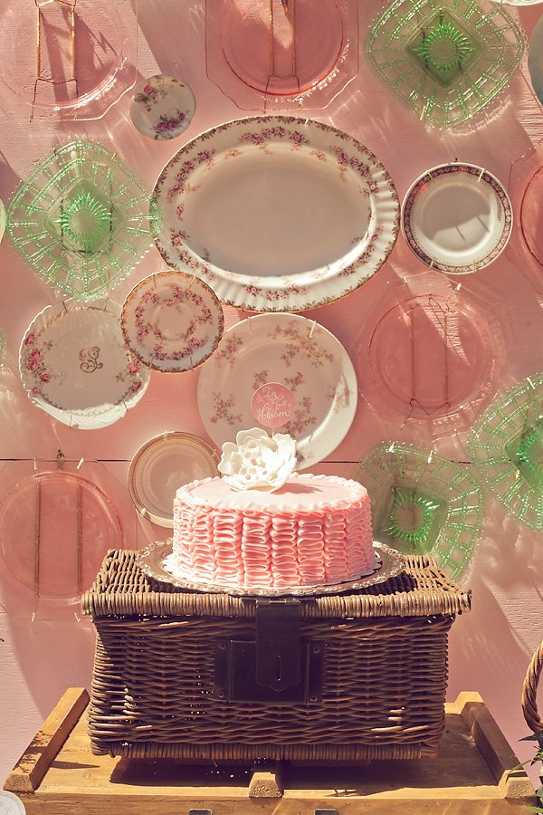french baby shower cake and vintage plate backdrop