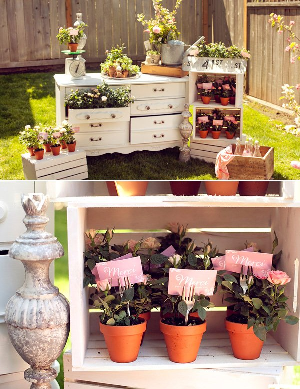 french garden baby shower decorations and potted plant merci favors