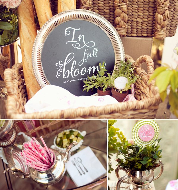 "french garden baby shower ""in full bloom"" theme"