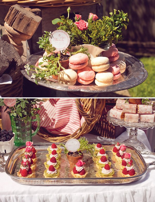 french baby shower macarons and tarts
