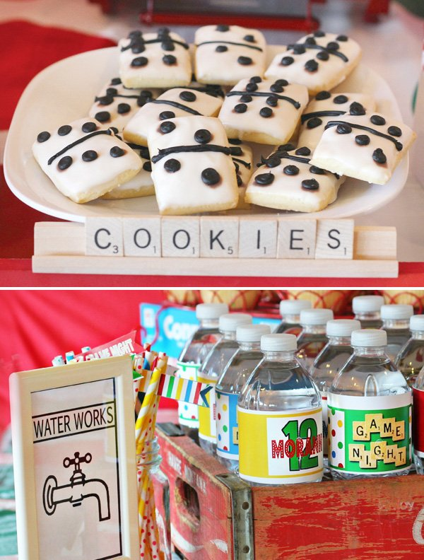 game night party ideas with domino cookies