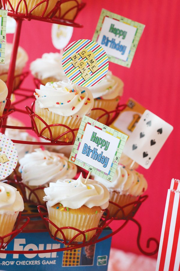 game night party ideas monopoly cupcake toppers