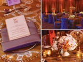 gold and ivory wedding menu and flowers