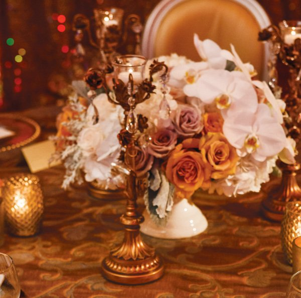 gold and ivory regal florals with champagne