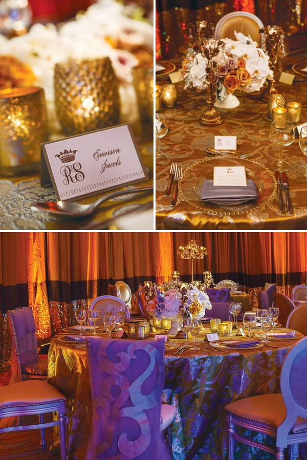 gold and ivory wedding place cards