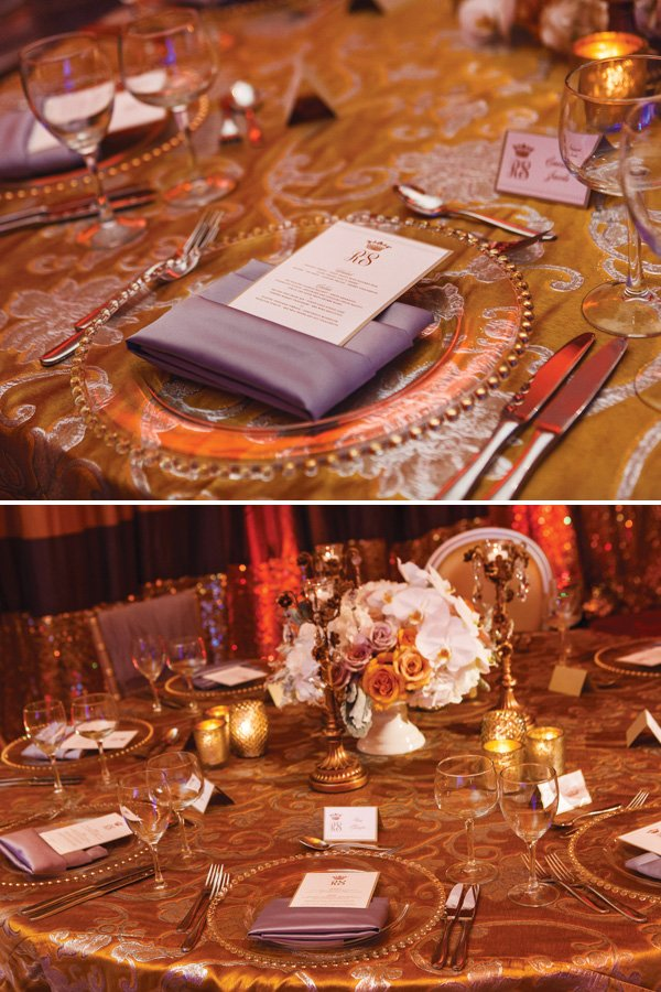 gold and ivory wedding regal table setting