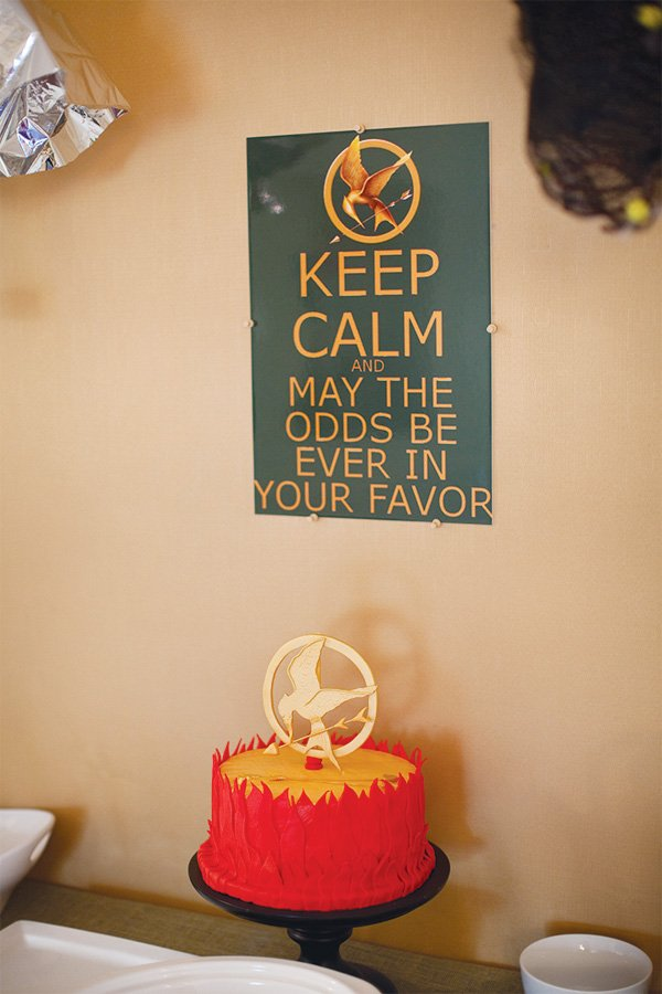 hunger games movie party red cake