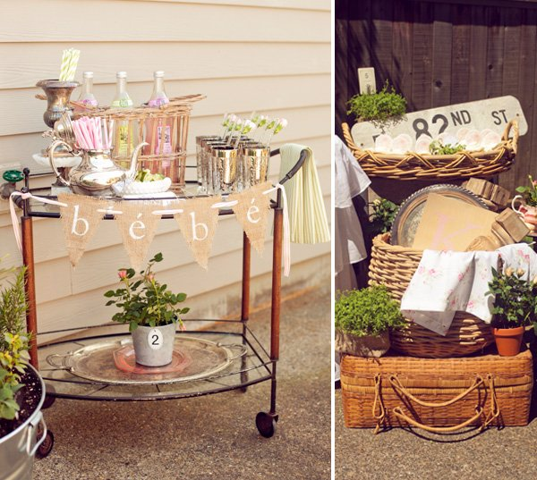 french baby shower drink bar