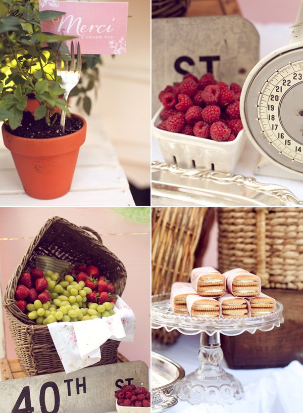 french baby shower snacks and decor