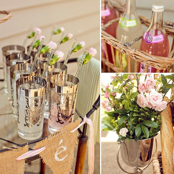 french baby shower drinks and flowers