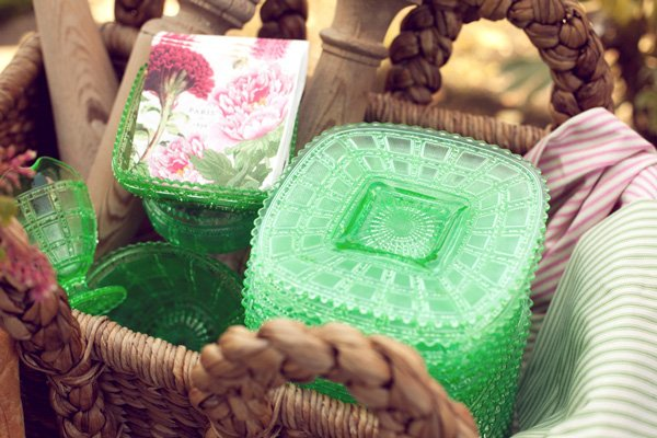 french baby shower green decorated dishes