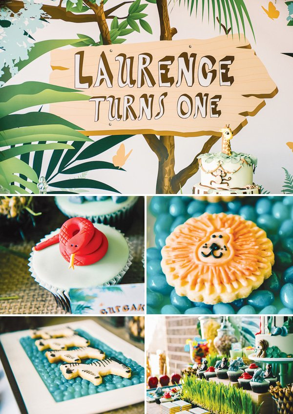 animal jungle party with lion cookies and snake fondant cupcake toppers