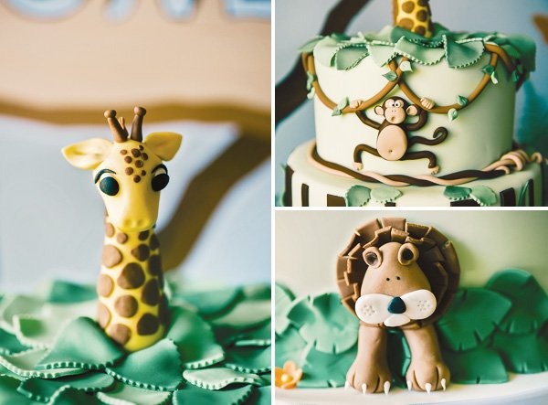 jungle cake close ups of the lion, monkey and green leaves