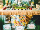 animal jungle party dessert table