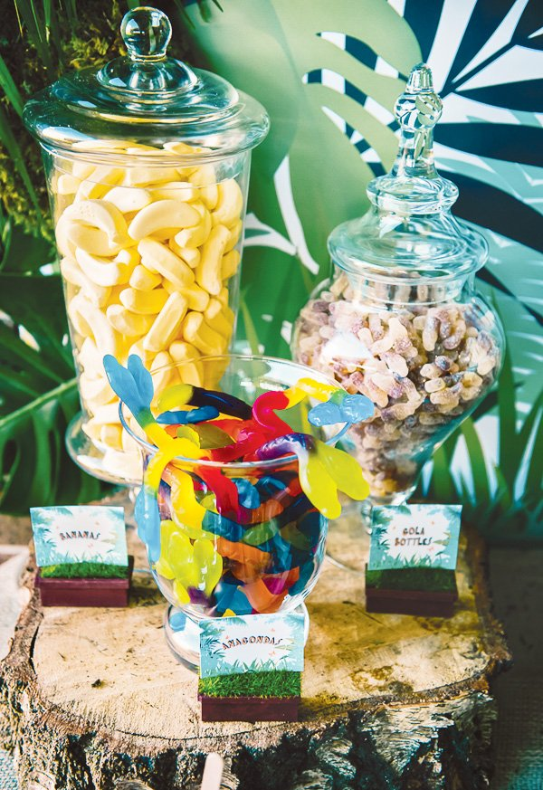 jungle party banana and worm candy
