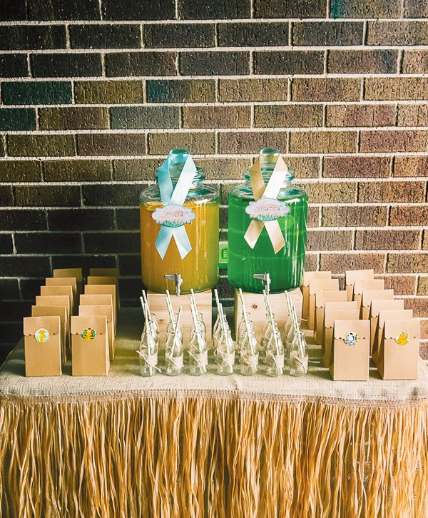 animal jungle first birthday party drink station